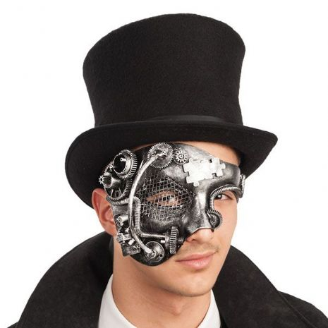 Mask Half Face Steampunk Silver Face Body Paint Makeup